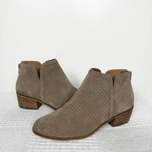 SUSINA | Taupe Suede Perforated Kyle Ankle Booties